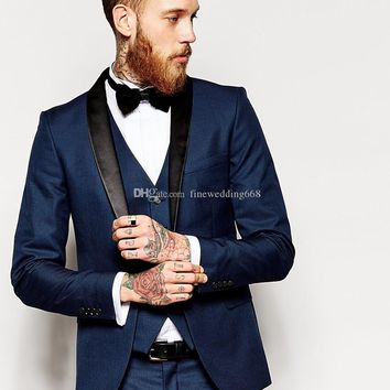 Custom Made One Button Navy Blue Groom Tuxedos Groomsmen Best Man Suit Wedding Men's Suits Bridegroom (Jacket+Pants+Vest+Tie+kerchief) P:01