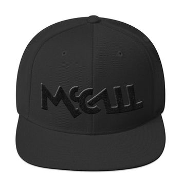 McCall 3d Puff Embroidered Black On Black Snapback Hat