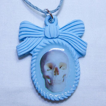SKULL cameo necklace with hemp cord
