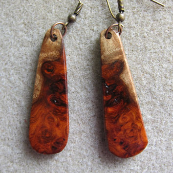 Amboyna Burl, Exotic Wood Earrings Handmade Exotic Wood ExoticwoodJewelryAnd