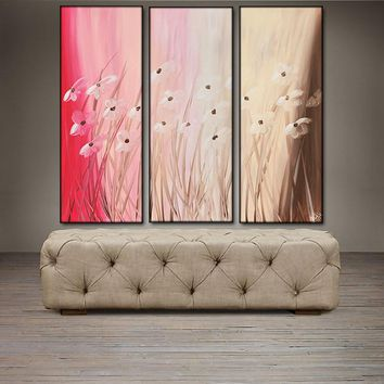 """'Floral VI' - 36"""" X 30"""" Original Abstract  Art.  Free-shipping within USA & 30 day return Policy."""