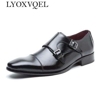 Mens shoes luxury genuine leather flat business formal shoes mens dress brogues oxfords monk strap shoes zapatos hombre M129