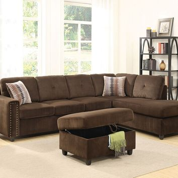 Acme 52700 2 pc belville chocolate velvet fabric sectional sofa with reversible chaise