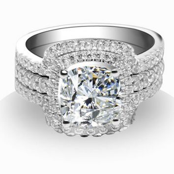 THREEMAN Awesome 3Ct Solid Au750 White Gold Setting Cushion Cut Synthetic Gem Engagement Rings Set for Women Genuine 750