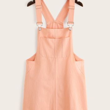 Pocket Front Solid Pinafore Dress