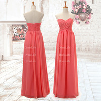 Sweetheart Pleated Bodice Floor Length Chiffon Bridesmaid Dresses/Evening Dresses/Long Prom Gown/Bridal Dress/Dress for Wedding/X065