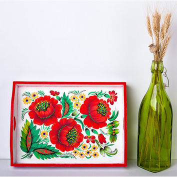 Poppies serving tray - Original & Unique - Hand Painted - Europe - fashion bright colors