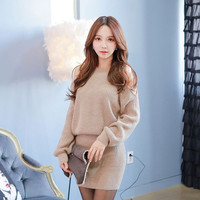 Women Winter Dresses 2016 Long sleeve Sexy Off-The-Shoulder Hollow Out Package Buttocks Knitting Sweater Dress