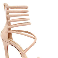 Seoul Sister Nude Suede Caged Heels