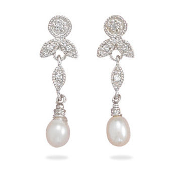 Rhodium Plated Cubic Zirconia And White Cultured Freshwater Pearl Earrings
