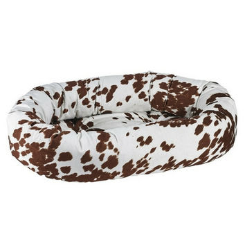 MicroVelvet Donut Bolstered Dog Bed — Durango