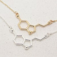 Serotonin Necklace In Gold/Silver, Molecule Necklace,Chemistry Necklace, Graduation Necklace,Anniversary Necklace, Bridesmaid Necklace NB749