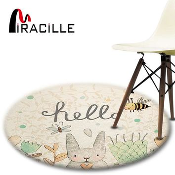 Miracille Cartoon Rabbit Printed Round Carpet For Living Room Computer Chair Area Rug Children Play Tent Floor Mat Cloakroom Rug
