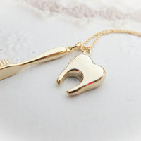 Gold Tooth Necklace Gold Toothbrush Necklace Gold necklace Charm necklace Cute necklace Gift mom Birthday Gift best friend Birthday Sister
