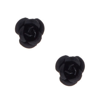 Sterling Silver Black Carved Rose Stud Earring