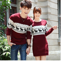 2016  fashion winter men's /women long sleeve Wine red  pullovers matching deer couple christmas sweaters free shipping.