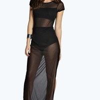 Maria Fitted Bandeau Mesh Maxi Dress