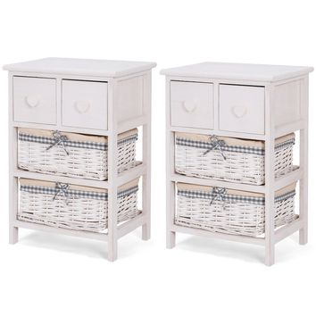 Giantex 2 PCS Nightstand Bedside End Table Bedroom Organizer with 2 Wicker Baskets Cabinet Home Furniture 2*HW57053