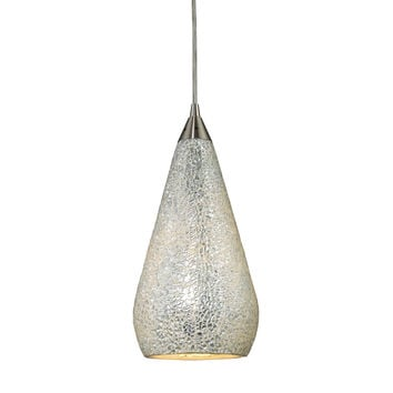 Curvalo 1 Light Pendant In Satin Nickel And Silver Crackle Glass
