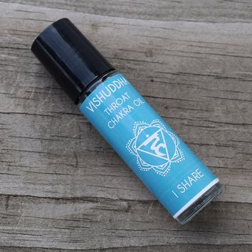 "Throat Chakra Oil ""I Share"" Vishuddha - Share Your Valuable Voice & Speak Up For Yourself"