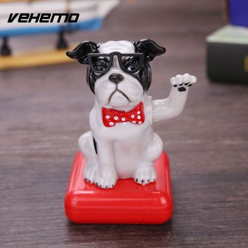 Vehemo Dancing Toy Doll Model Solar Powered Animal Puppy Dog Cute Car Interior Automobile Decoration Swing Toy