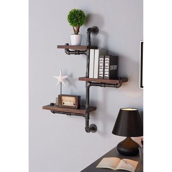 """30"""" Orton Industrial Pine Wood Floating Wall Shelf In Gray And Walnut-Armen Living"""