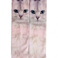 Cotton Blend Socks with Cat Print