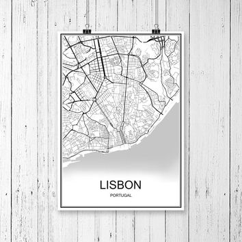 World City Map LISBON Portugal Print Poster Abstract Coated Paper Bar Cafe Pub Living Room Home Decoration Wall Sticker 42x30cm
