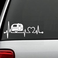 Camper Travel Trailer Heartbeat Decal Sticker