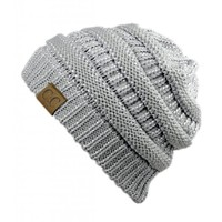 Unisex Trendy Warm Chunky Soft Stretch Cable Knit Slouchy Beanie Skully (Silver)