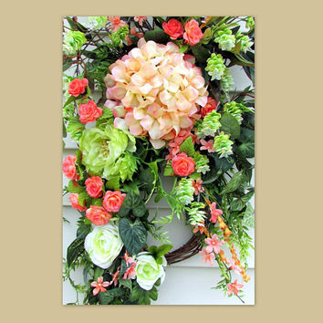 Spring swags for front door, Summer floral wreath, wreath front door, door swag, swag wreath, floral swag, teardrop door swag, Easter wreath