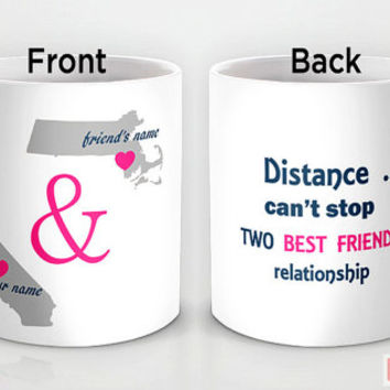 Custom PinkMugNY design coffee mug- Long Distance Love - Best Friends #3