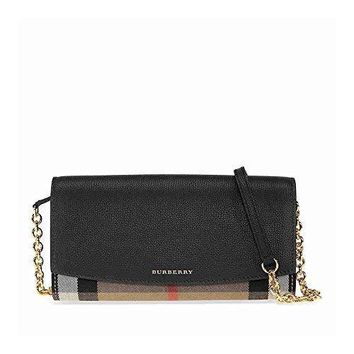 Burberry Women's House Check And Leather Wallet With Chain Black - Best Deal Online