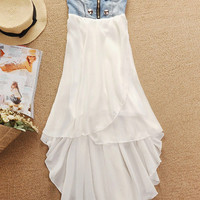Button Zipper Front Denim Chiffon Dress