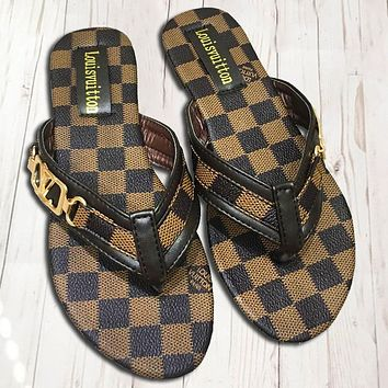 LV Louis Vuitton New Fashion Tartan Leisure Slippers Flip Flop Shoes Women Coffee