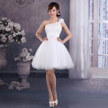 One Shoulder Short Party Dress Appliques Formal Dress robe de Cocktail Dresses Knee Length Homecoming Graduation Dresses