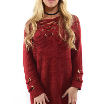 St. Cloud Marsala Lace Up Sweater