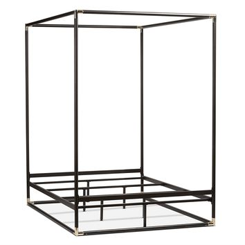 Queen size Industrial Style Black Metal Canopy Bed Frame