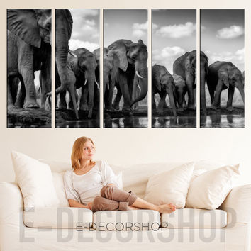 Large Wall Art Canvas Elephant Herd Print - Canvas Wild Elephant Family Art Prints For Wall, Ready to Hang