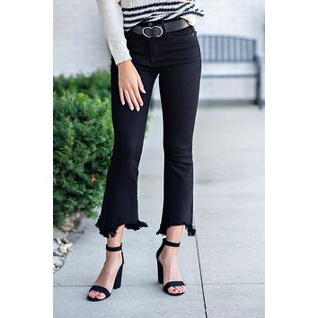 Keep It Sassy Flare Fray Hem Jeans : Black