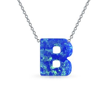 Blue Created Opal Initial Letter Alphabet Pendant Necklace Sterling