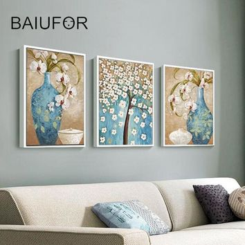 BAIUFOR Full Diamond Painting Flowers Cross Stitch Diamond Mosaic Embroidery Rhinestone Pictures DIY hobby Wall Arts Crafts 3pcs