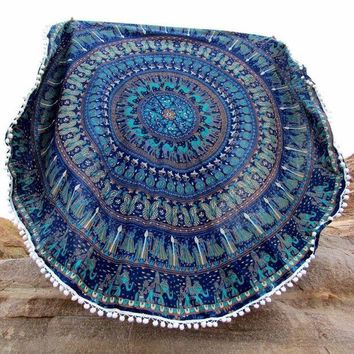 ESBU3C 2016Vintage Printed Round Tassels Indian Mandala Tapestry Wall Hanging Summer Beach Towel Large Scarf hippie  Mat 150cm D133