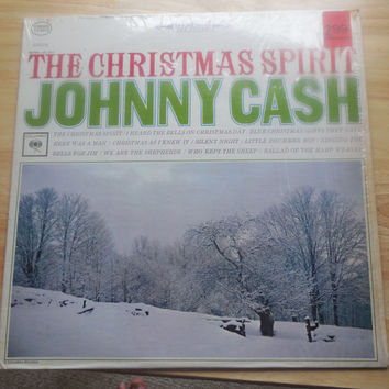 Vintage Vinyl Record Johnny Cash The Christmas Spirit - I Heard The Bells On Christmas Day - 1960s Vinyl
