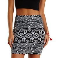 Black/White Tribal Print Bodycon Mini Skirt by Charlotte Russe