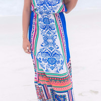 Walk Along The Shore Paisley And Tribal Printed Halter Top Maxi Dress