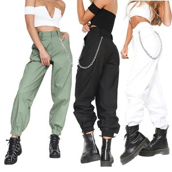 Solid Color Casual High Waist Pants