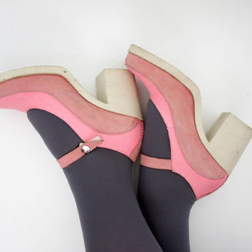 Vintage shoes pink chunky heel mary janes size 37/7 by nemres