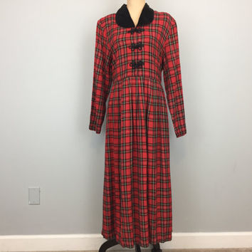 Scottish Plaid Dress Red Black Plaid Long Sleeve Velvet Collar Christmas Dress Holiday Prairie Dress Rayon Size Large Dress Womens Clothing