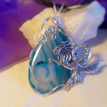 Wire Wrapped Unique Blue Ocean Swirl Glass Mermaid Silver Pendant Necklace